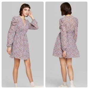 Wild Fable Lilac Purple Long Sleeve Floral Dress M